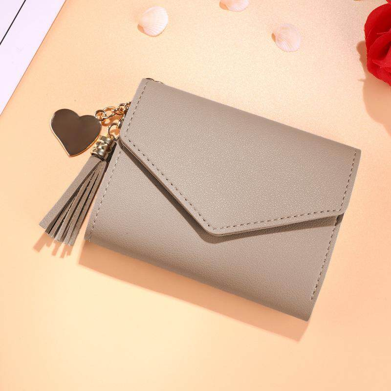 f12665f88931 PU Leather Wallet Girl Short Student Korean Style Mini Personality Love  Tassel Cute Small Wallets Purse For Women Girls
