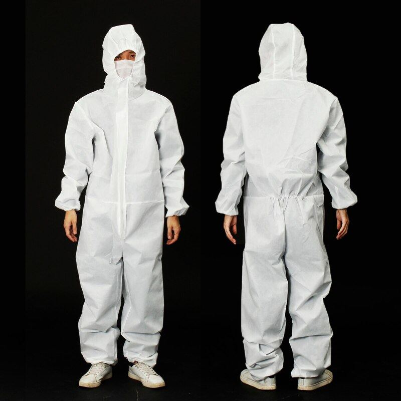 SpotWhite Disposable Protective Suit Safety Clothing Security SMS Dustproof Anti-static Fit for 170cm/180cm height