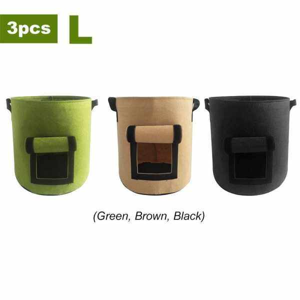 Potato Grow Bag, Garden Planting Bags, Vegetables Planter Bags, Non-Woven Aeration Fabric Pot with Handle and Access Flap, Garden Bags for Vegetables, Tomatoes, Carrots, Onions, 3pcs, (Green, Black, Brown), L (L)