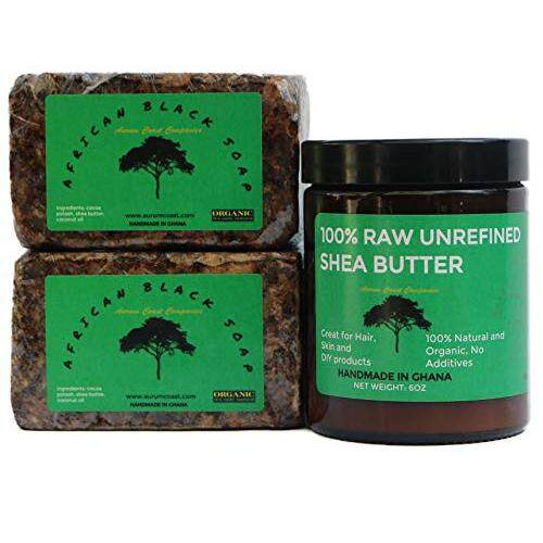 Aurum Coast Shea Butter African Black Soap and Shea Butter | Organic Skin Care Pack | Handmade in Ghana | New Launch Sales Price! |