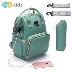 Reakids Túi Tã Trẻ Em Mẹ Xe Đẩy Có Túi USB Dung Tích Lớn Túi Đựng Tã Chống Nước Bộ Dụng Cụ Mẹ Bầu Ba Lô Du Lịch Điều Dưỡng Túi Xách
