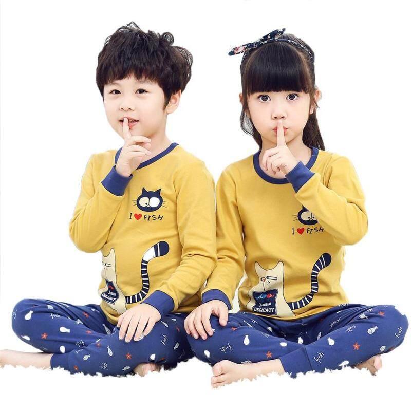 Nơi bán 2 Cái/bộ Trẻ Em Bé Trai Bé Gái Cotton Mềm Mại Mặc Nhà Set Áo Sơ Mi + Quần Độ Tuổi Cho Bé: 8-10Y