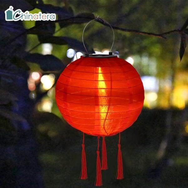 [Chinatera] Đèn Lồng LED Tua Rua Năng Lượng Mặt Trời 10Inch Đèn Lễ Hội Trung Quốc Màu Trơn Đèn Treo Không Thấm Nước Đèn Chùm Chiếu Sáng Cảnh Quan Trang Trí Sân Vườn Gia Đình