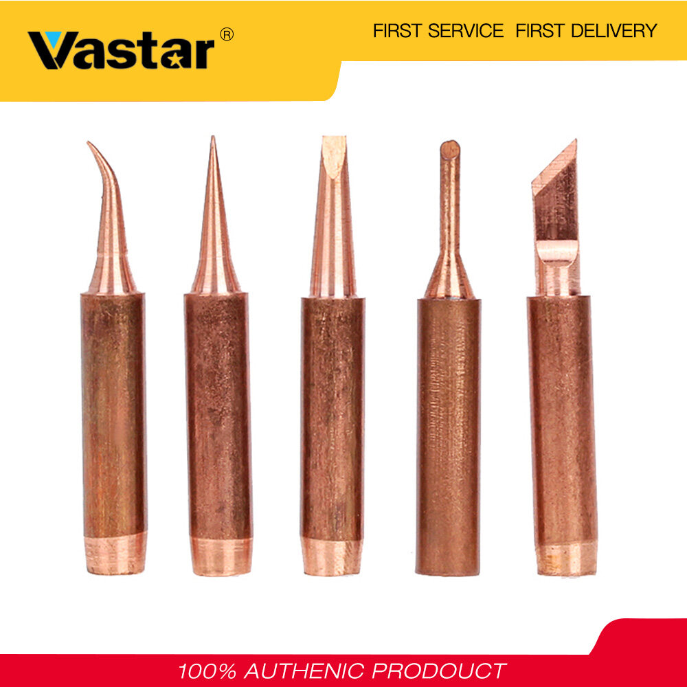 Vastar 5pcs Pure Copper Lead-free 900M-T-K Soldering Iron Tip for Soldering Rework Station