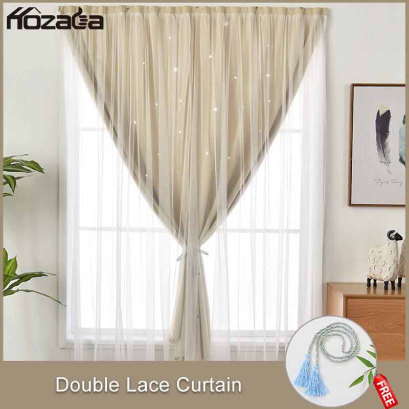 Hozada Rèm cửa sổ, Rèm trang trí, Rèm phòng ngủRèm Cửa Sổ Phòng Ngủ Dán 2 Lớp Hoạ Tiết Sao Long Lanh Tiện Lợi Không Cần Khoan Tường Dễ Vệ Sinh 1pcs Curtains Blackout Shading Curtains UV Protection  90×120cm/90×150cm