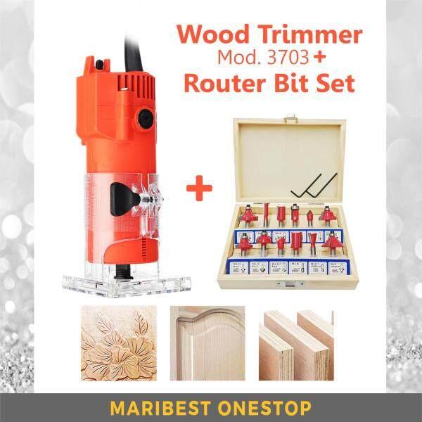 COMBO SET MIP-3703 Electric Hand Trimmer Wood + 12Pcs Router Bit Set