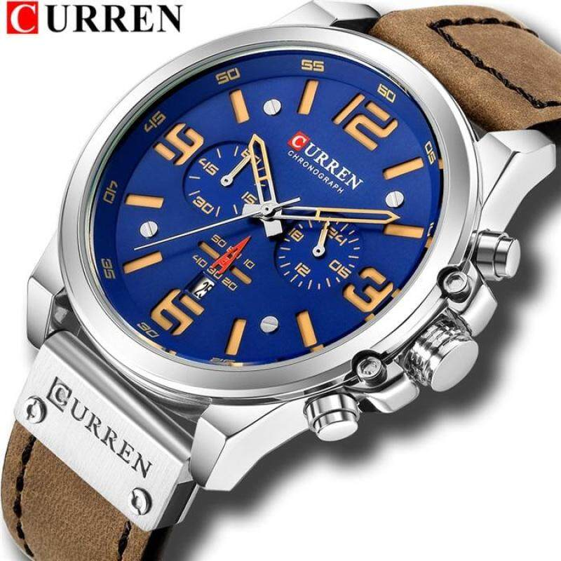 CURREN Mens Watches Fashion Quartz Watch Leather Strap Large Dial Multi Function Stopwatch Calendar Date Waterproof Shockproof 8314 Malaysia