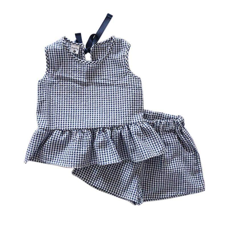 526007a68 Summer Children Girls Cute Baby Plaid Lattice Ruffles Vest Sleeveless Shirts  + Shorts 2pcs Kids Clothes