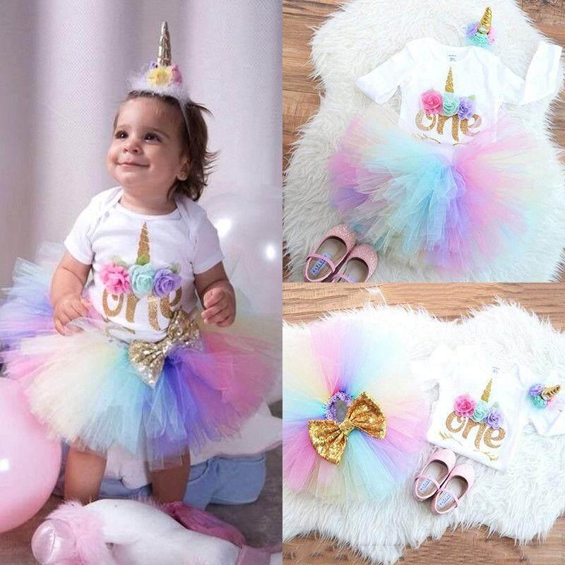 335986596777 3PCS Baby Girls 1st Birthday Outfit Party Romper Skirt Cake Smash Tutu  Dress Set