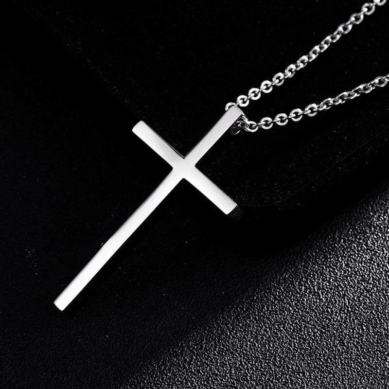 Salib dari Baja Titanium Kalung Liontin untuk Pria Wanita Minimalis Perhiasan Pria Wanita Doa Kalung Choker Warna Perak Hadiah-Di Kalung Berliontin