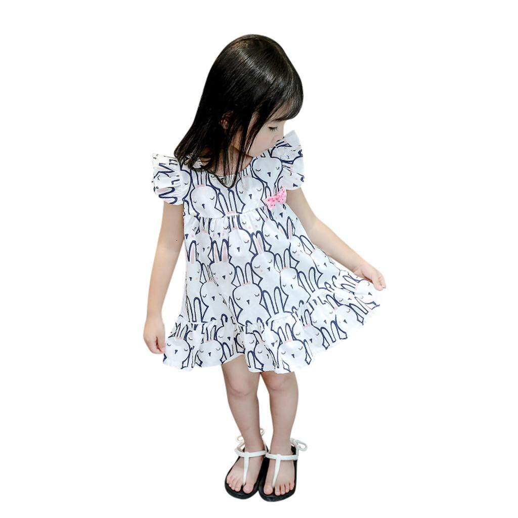 517111ce00c85 Summer Fashion Infant Baby Girls Sleeveless Cartoon Rabbit Print Princess  Dress