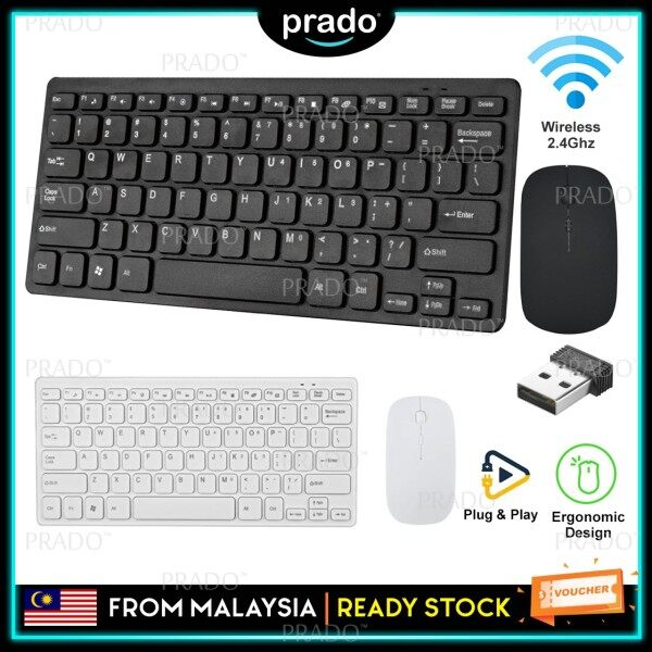 PRADO Malaysia Ultra-Thin Wireless 2.4GHz Mouse Keyboard USB Combo Set Portable For Desktop Laptop PC Malaysia