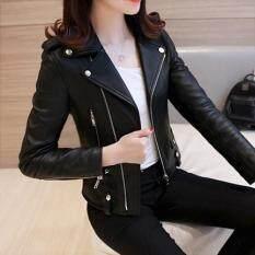 Áo khoác da cổ vest tay dài dáng ôm dành cho nữ áo khoác da phong cách mùa thu Hàn Quốc thích hợp đi xe máy dạo phố