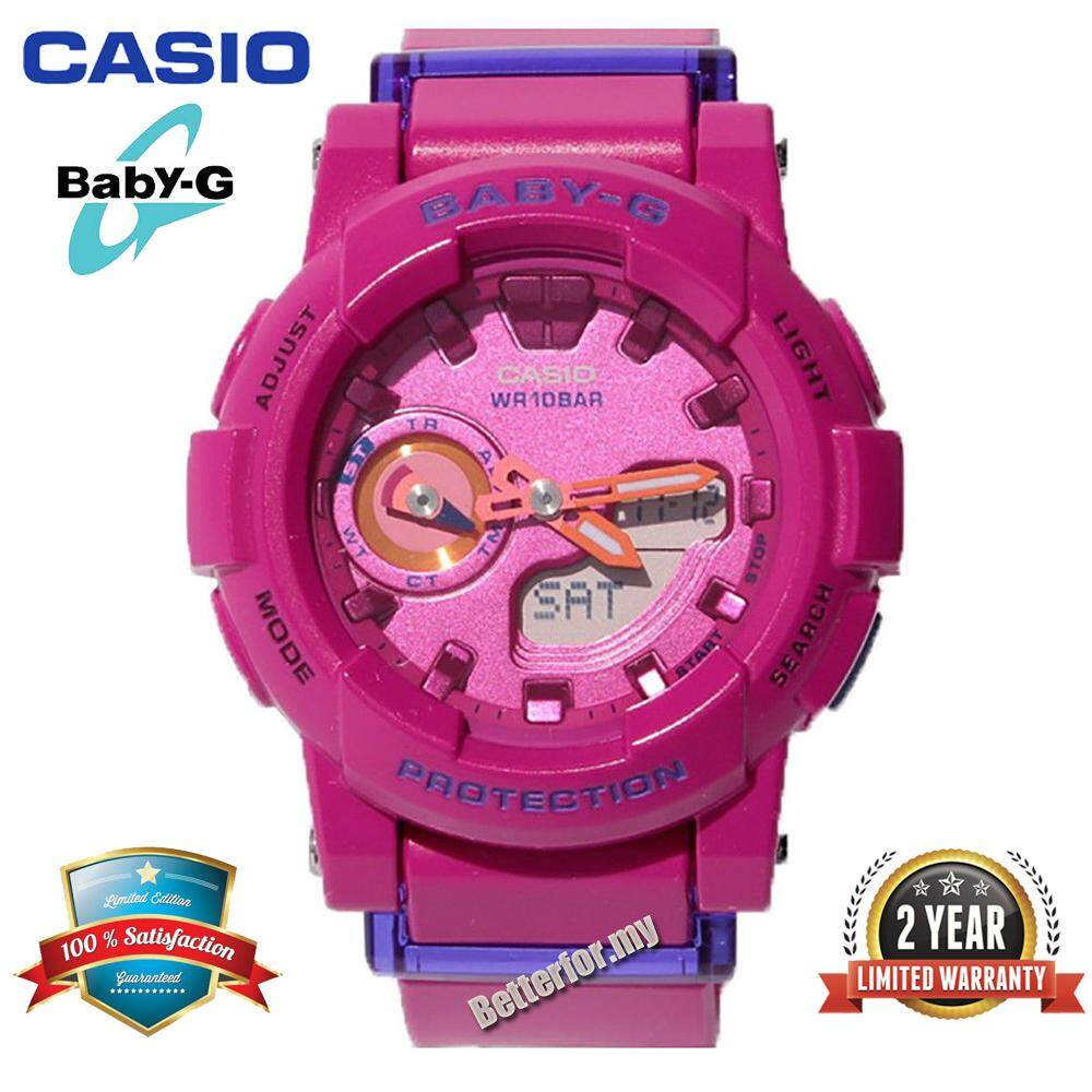 (Ready Stock)Original Casio Baby G_BGA-185FS-4A Women Sport Watch Duo W/Time 100M Water Resistant Shockproof and Waterproof World Time LED Light Girl Wist Sports Watches with 2 Year Warranty BGA185/BGA-185 Pink Malaysia