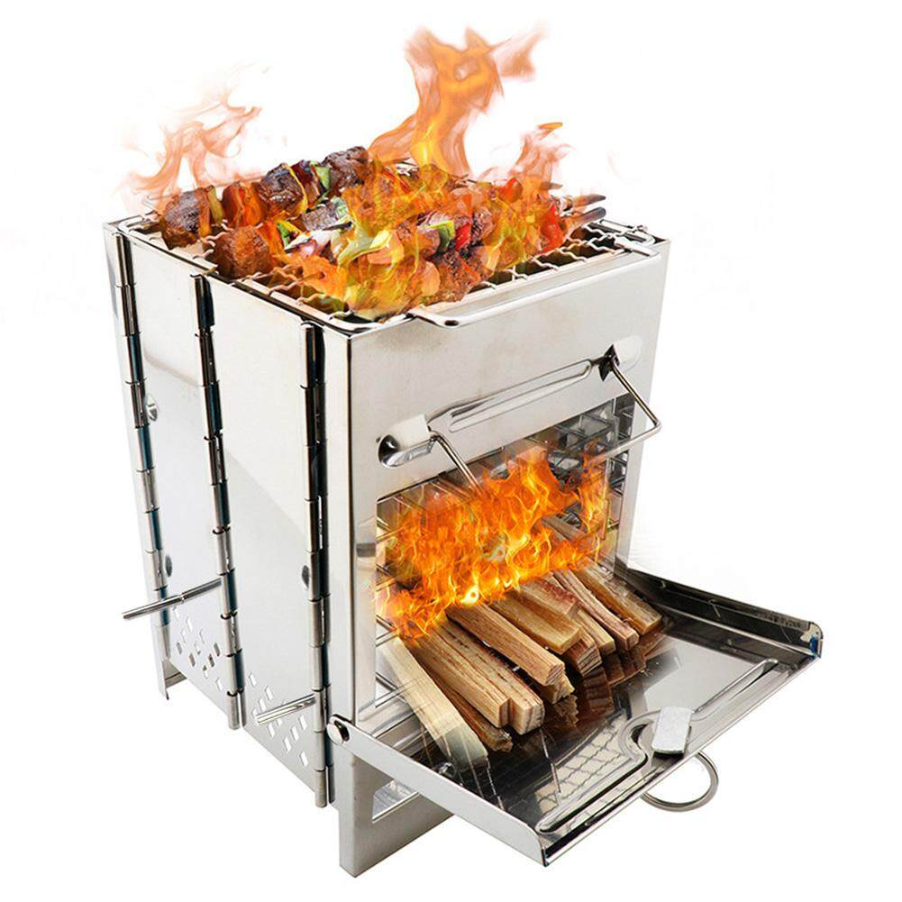 Stainless Steel Square Stove Foldable Grill Adjustable Outdoor Mini Charcoal Stove BBQ Grill