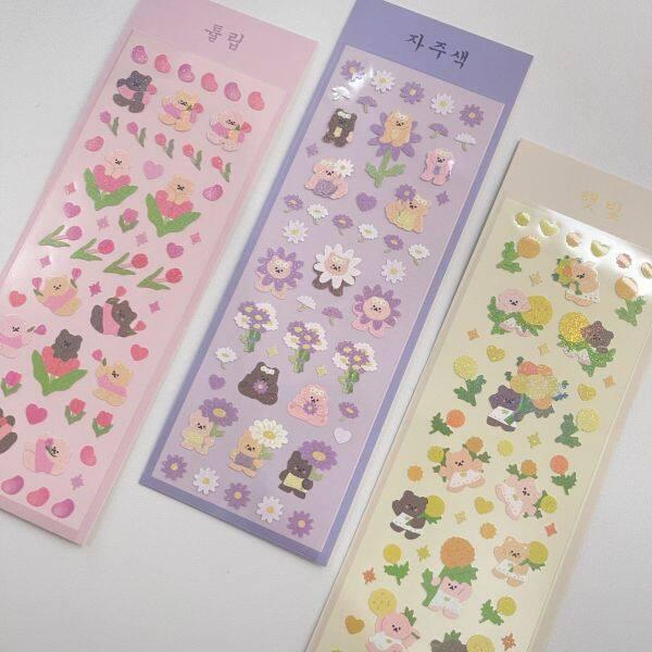 GaLiCiCi stickers Hình dán hoạt hình gấu laser / vật liệu trang trí DIY // hình dán chống thấm nước / hình dán ảnh ba chiều