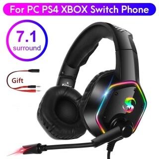 SUMLIFE Tai Nghe Chơi Game Âm Trầm Sâu LED RGB 7.1 Tai Nghe Game Thủ Qua Tai Với Mic HD, Tai Nghe Chơi Game Điện Thoại Máy Tính Khử Tiếng Ồn thumbnail