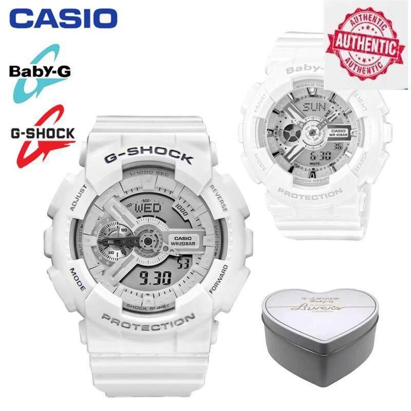 (Ready Stock) Original Casio_G Shock BA-110-7A3/GA-110C-7A Men Women Couple Set Sport Watch Shockproof and Waterproof World Time LED Light Wrist Sports Lover Watches White Malaysia