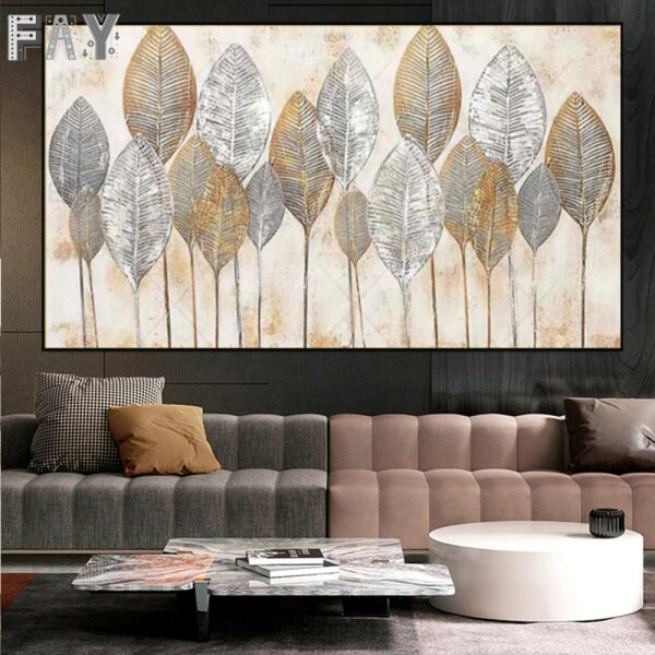 Abstract Gold Leaf WallArt Oil Painting Canvas Painting Printed on Canvas Decorative Painting LivingRoom Bedroom Home Decoration