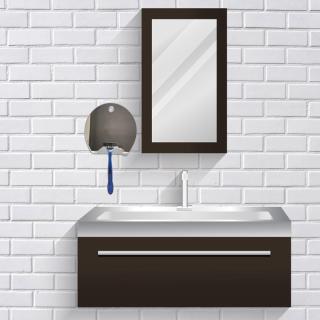 ToiletTree Products Deluxe Cermin Cukur Mandi, Cermin Besar Tanpa Kabut dengan Squeegee, Besar, Hitam Kecantikan thumbnail