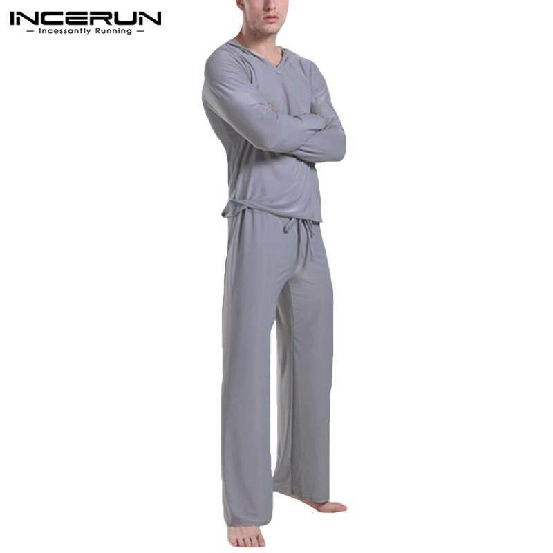 6955451be9e INCERUN New Mens Soft Sleepwear Homewear Hooded Pajama Set Casual Long  Sleeve Tops Pants