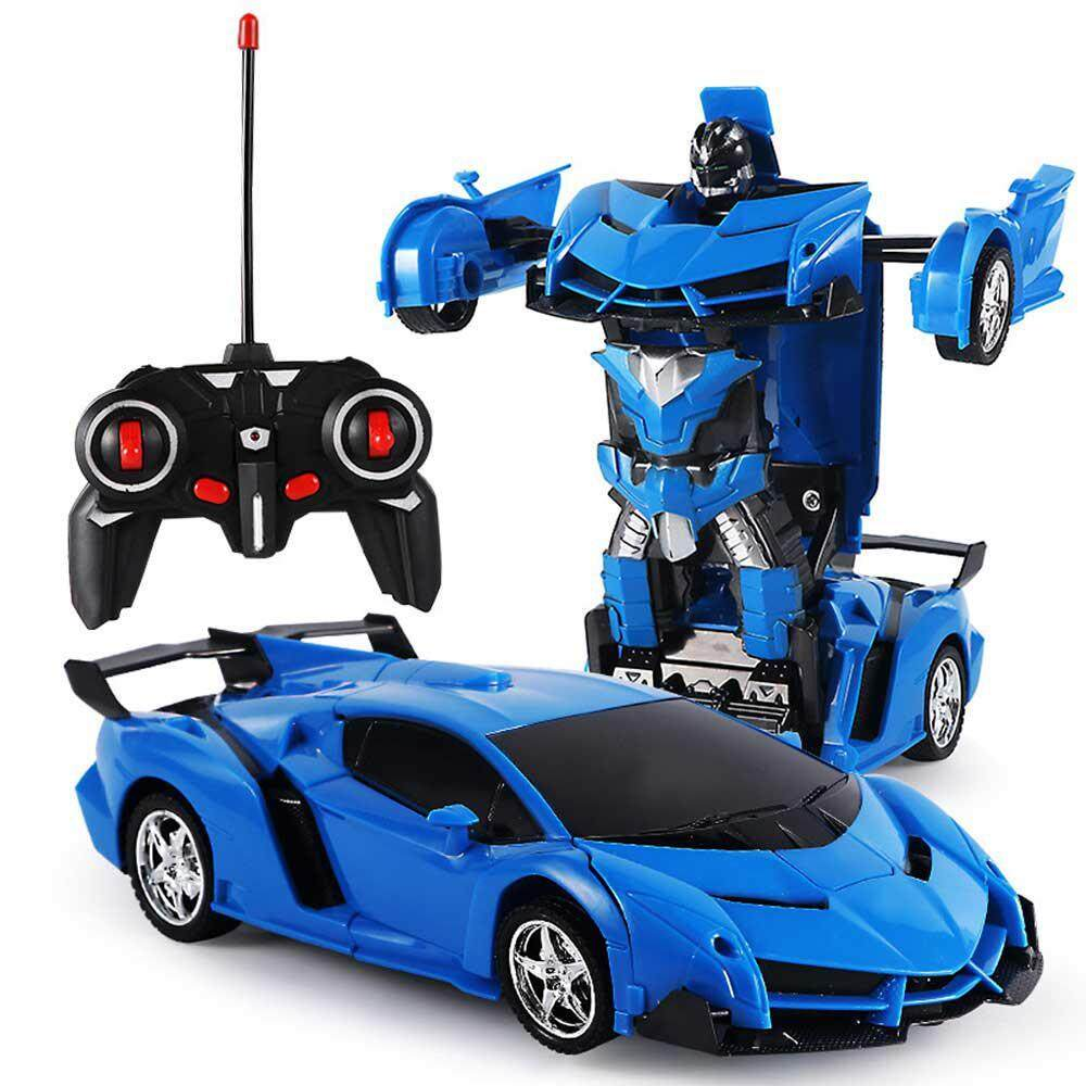 Outflety Rc Vehicles Transformer Toys One Key Deformation Robot Car