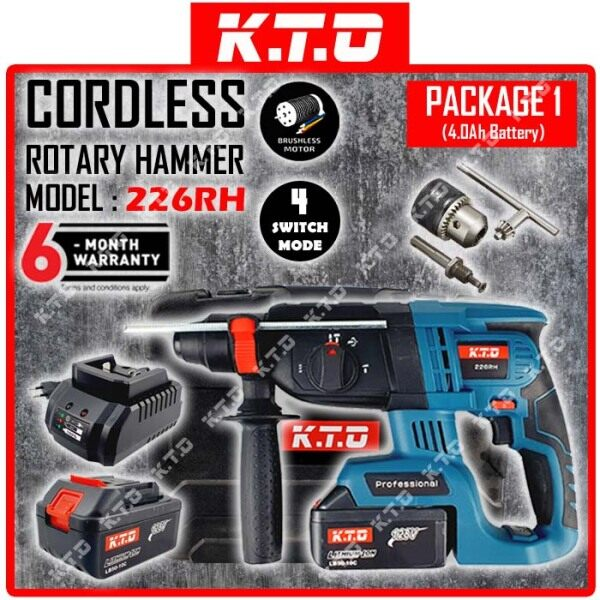 KTO 226RH CORDLESS ROTARY HAMMER DRILL 26MM 4MODE 128V BRUSHLESS MOTOR with FREE GIFT ( AVAILABLE IN 4 DIFFERENT PACKAGE )