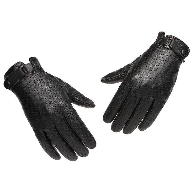 Bsyt Mens Leather Driving Gloves With Ajustable Belt Button,genuine Goatskin Mesh Motorcycle Cold Weather Gloves M8-2 By Bisonet Store.