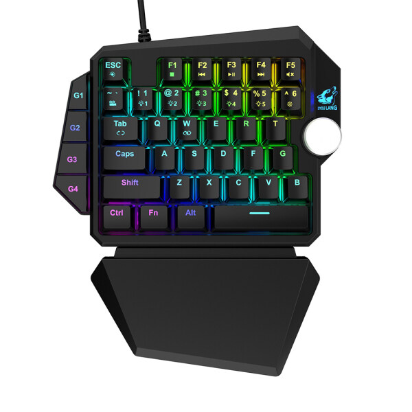 K5 RGB Single Handed Mechanical Gaming Keyboard with 35 Macro Keys Wrist Support for Desktop Laptop Singapore