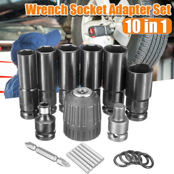 10Pcs Electric Impact Wrench Hex Socket Sleeve Set + Dill Chuck + Batch Head + Dive Adapter
