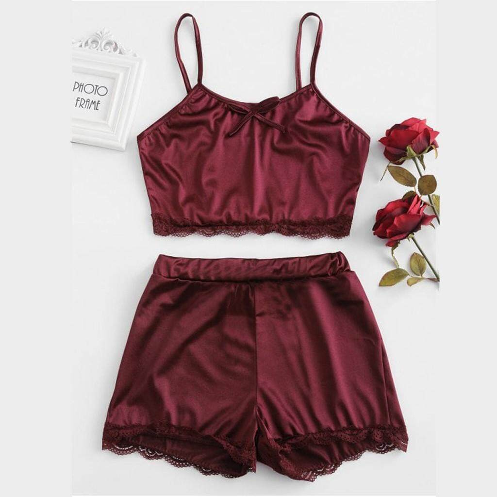e2d245b205 Aynshop Women Sleepwear Sleeveless Bow Lingerie Nightwear Lace Trim Satin  Top Pajama Set