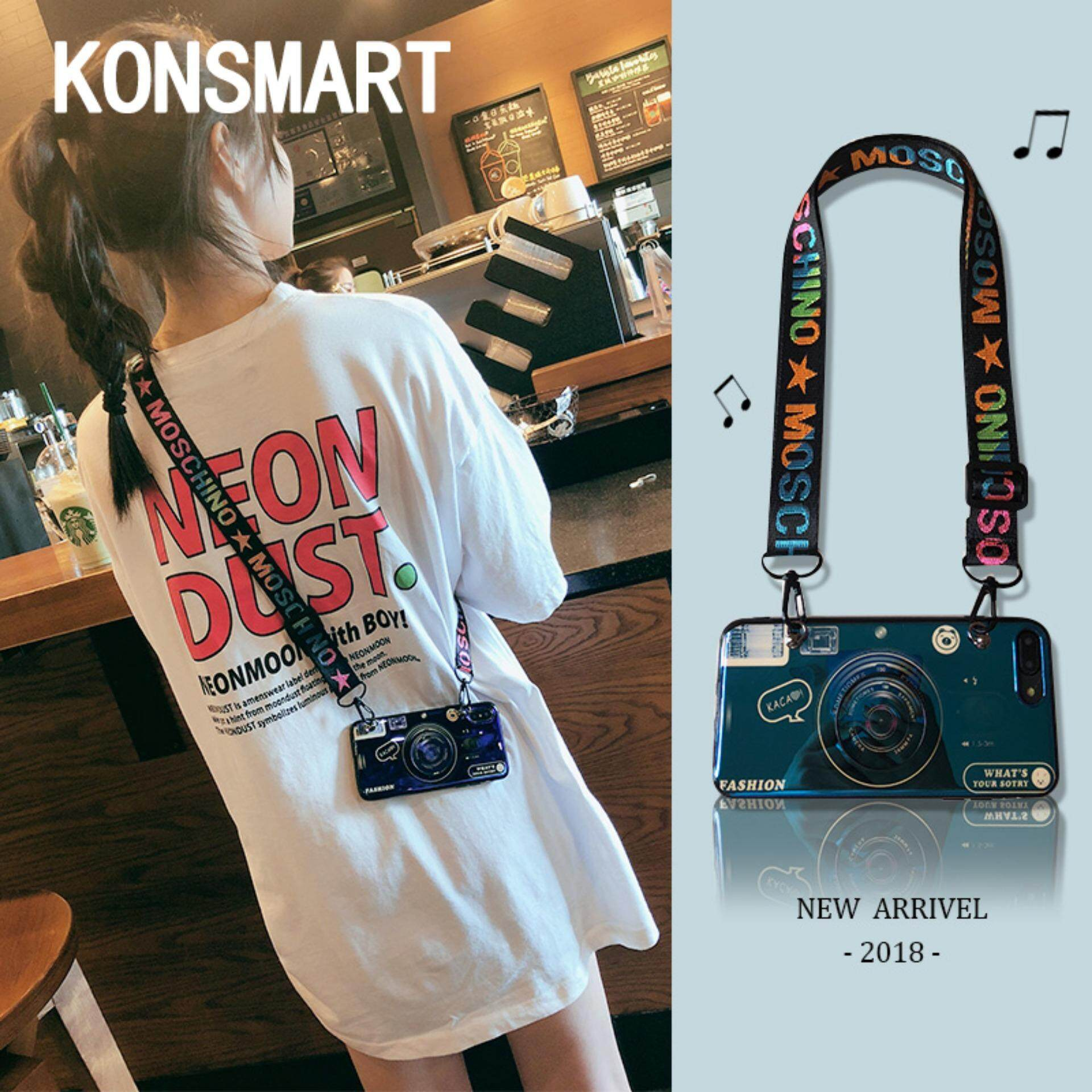 KONSMART Kamera Baru Bluray Casing Ponsel dengan Tempat Ponsel untuk OPPO A37 A39 A57 A59 A71 A73 A77 A79 A83 dengan Adjustable Crossbody lanyard Lembut Cover Fashion Coques untuk OPPO F1S F2 F3 F5 F7 F9 A7 A3 A3S A5S Findx