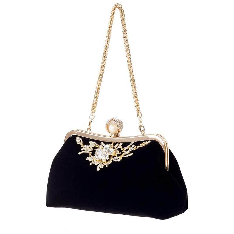 Female Diamond Pearl Handbag Vintage Crystal Flower Evening Bag Wedding Party Bride Clutch Bag Purse(Black)