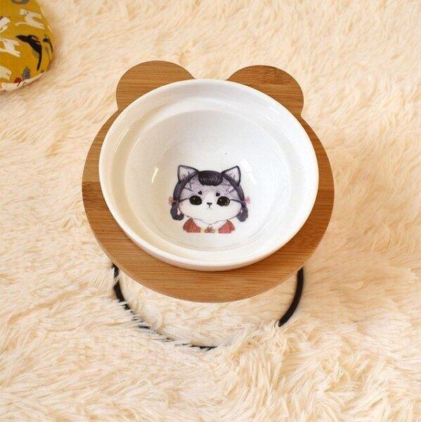 Bát Cho Thú Cưng Cao Cấp Mới, Kệ Tre Kệ Bát Cho Ăn Và Uống Bằng Gốm, Phụ Kiện Cho Chó Và Mèo Ăn
