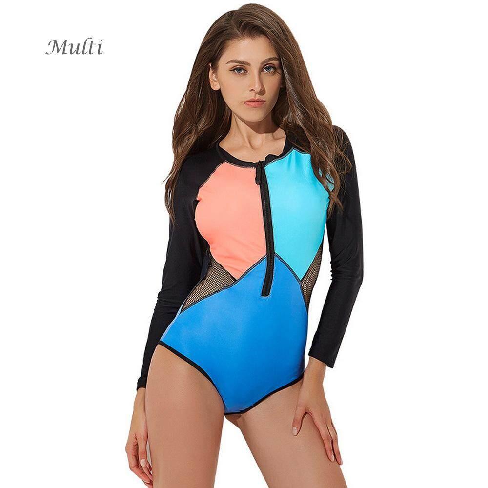 62855875110 Women  s Swimsuit Long Sleeve Geometry Print Patchwork Zipper One-piece  Surfing Suit