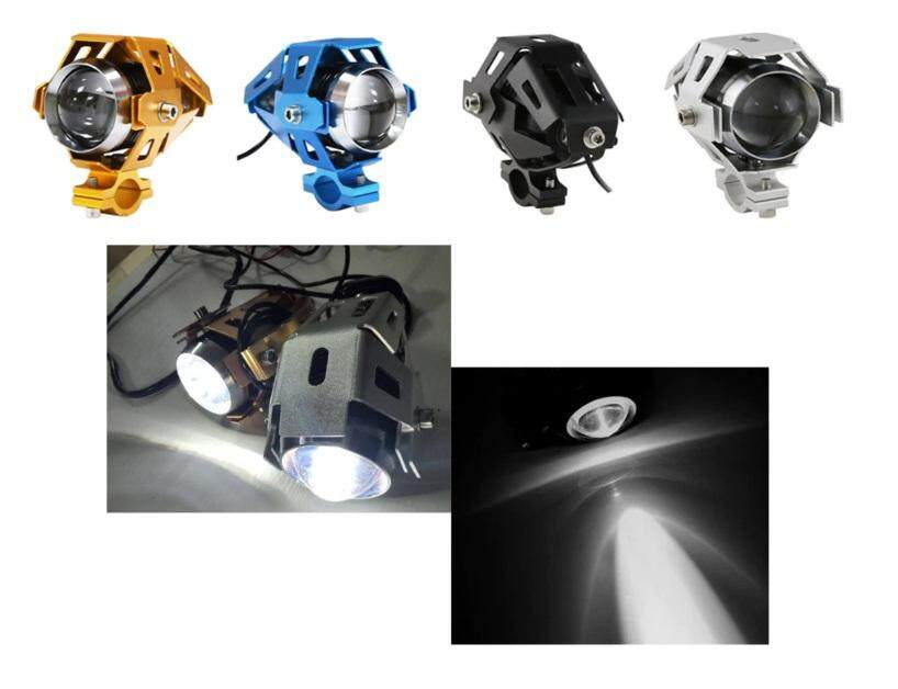 2x 125W Motorcycle Bike U5 LED Driving Fog Head Spot Light Headlight Black with switch