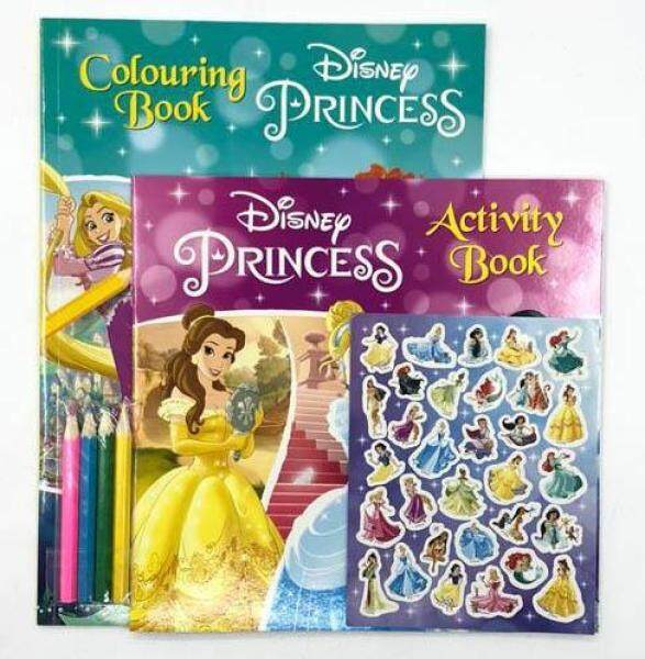 [Ready Stock[ Disney Princess colouring book activity book pack colour pencils children kids learning book Malaysia
