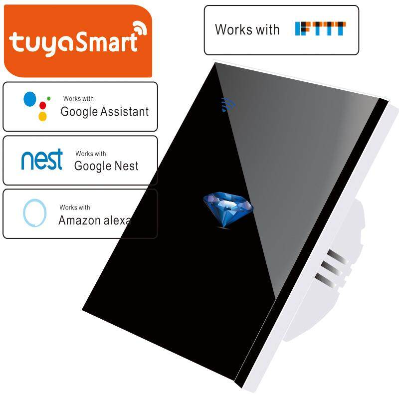 MY UK Standard Smart life tuya APP Control 1 gang 1 Way Home Wireless WiFi Wall Light Touch Switch Panel Wall interruptor,Need Neutral line,Diamond pattern switch,110-250V
