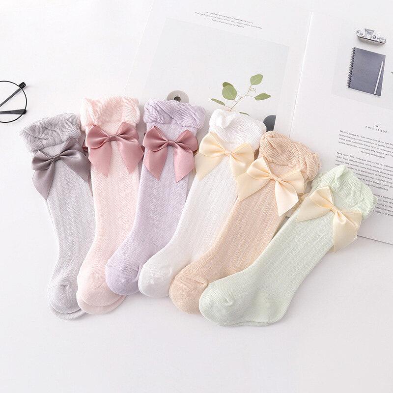I Love Daddy&Mummy Tất dài thắt nơ phối ren cao đến gối màu trơn chất liệu cotton mềm mại thoáng...