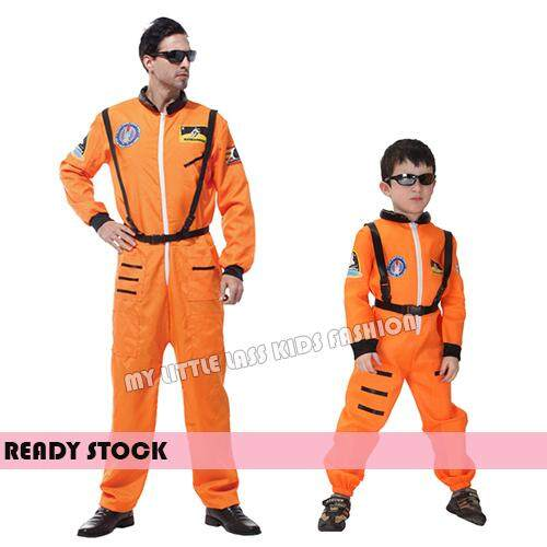 Children Kids Role Orange/White Astronaut Costume Smart Occupation 4-12y Adult toys for Boys