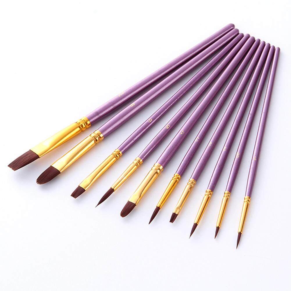 Mua 10 cái/bộ Nylon Acrylic Cọ Sơn Thủ Công Vẽ Màu Nước Lót Tay Cầm Gỗ