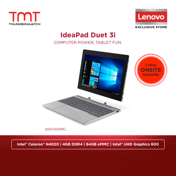 Lenovo Ideapad Duet 3 10IGL5 82AT0035MJ Laptop Celeron N4020 4GB-OB 64GB eMMC 10.3WUXGA HD Touch Win10 No Bag Malaysia