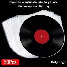50 Cái/bộ Hộp Đựng Trong Suốt Chống Tĩnh Điện Hình Bán Nguyệt Phụ Kiện Bàn Xoay Bảo Vệ Bên Trong Chống Bụi 12 Inch Vỏ Bọc Đĩa Nhựa Vinyl PE
