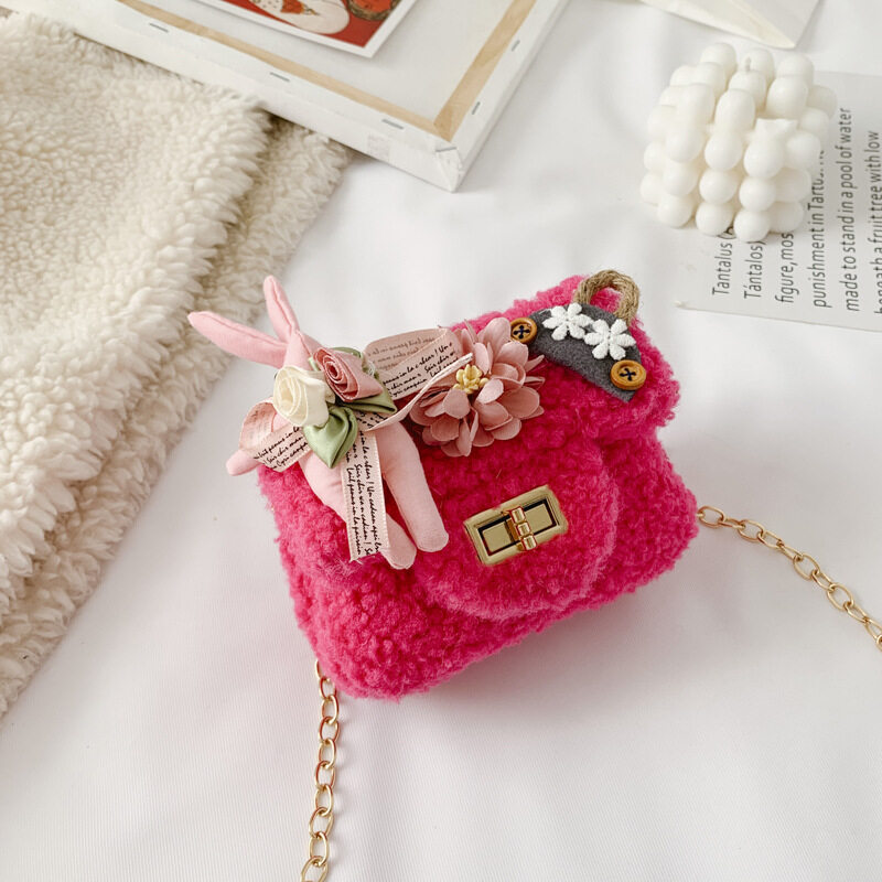 Cute Rabbit Plush Sling Bag for Girls Kids Shoulder Crossbody Bag Messenger Pouch Coins Package