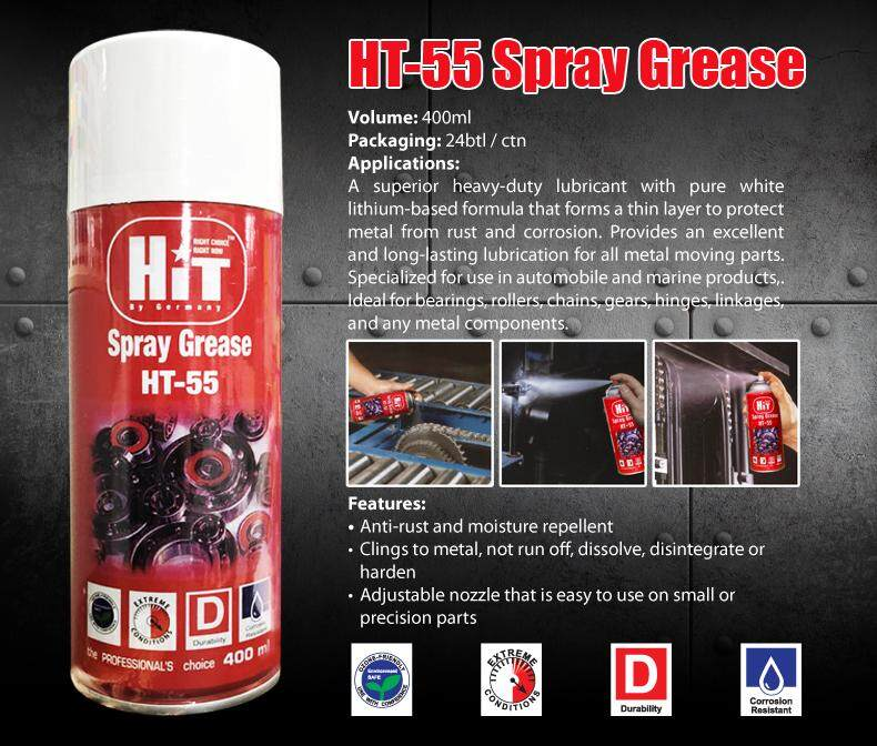 HIT SPRAY GREASE HT-55 400ML BEARING GEAR CHAIN ROLLER HINGE LUBRICATION  HT55
