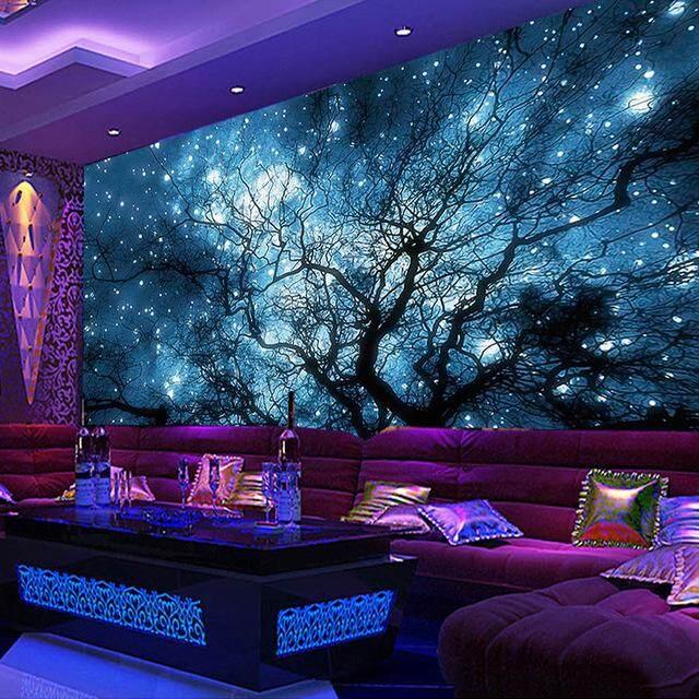 3D Wallpaper Vinyl Wall Sticker Abstract Art Blue Starry Sky Trees Wall Mural Living Room Hotel Bedroom Luxury Decor Wallpaper