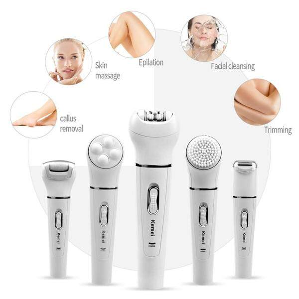 Buy CkeyiN 5 in 1 Electric Body Epilator, Rechargeable Lady Shaver Facial Cleansing Brush, Massager for Body, Leg, Bikini and Face Underarms Singapore