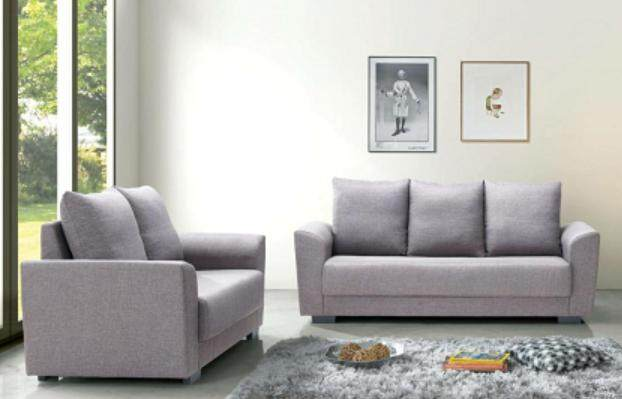 FOREVER 2 + 3-Seater Fabric Sofa (Grey)