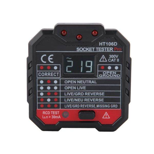 [High Quality] Electric Socket Tester HT106D/HT106B/HT106E Multi-function Mains Wire Testing Circuit Polarity Detector Fault Checker Tool with Voltage Backlight LCD Display