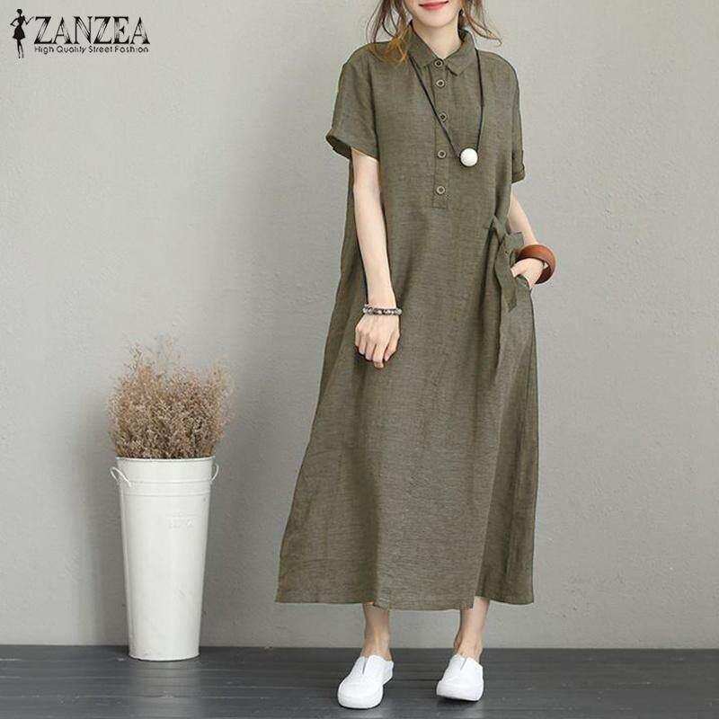 Váy Áo Dài Có Nút Cổ ZANZEA Cho Nữ, Váy Midi Tay Ngắn Ve Áo, Váy Kaftan Với Giá Sốc